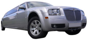 Chauffeur driven silver Chrysler 300 stretched limousine